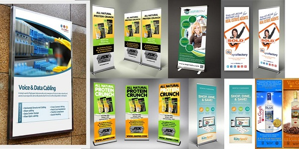 Which are various pull up banner stand printing?